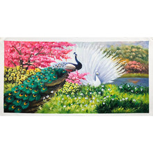 100% Hand Painted Peacock Flower Art Oil Painting On Canvas Wall Art Frameless Picture Decoration For Live Room Home Decor Gift(China)