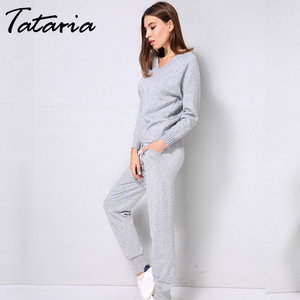Image 5 - Tataria Women Sweater Suits and Set Autumn Winter Knitted Tracksuit Women 2 Piece Sweater Suit Pants Clothing Sets Sporting Suit