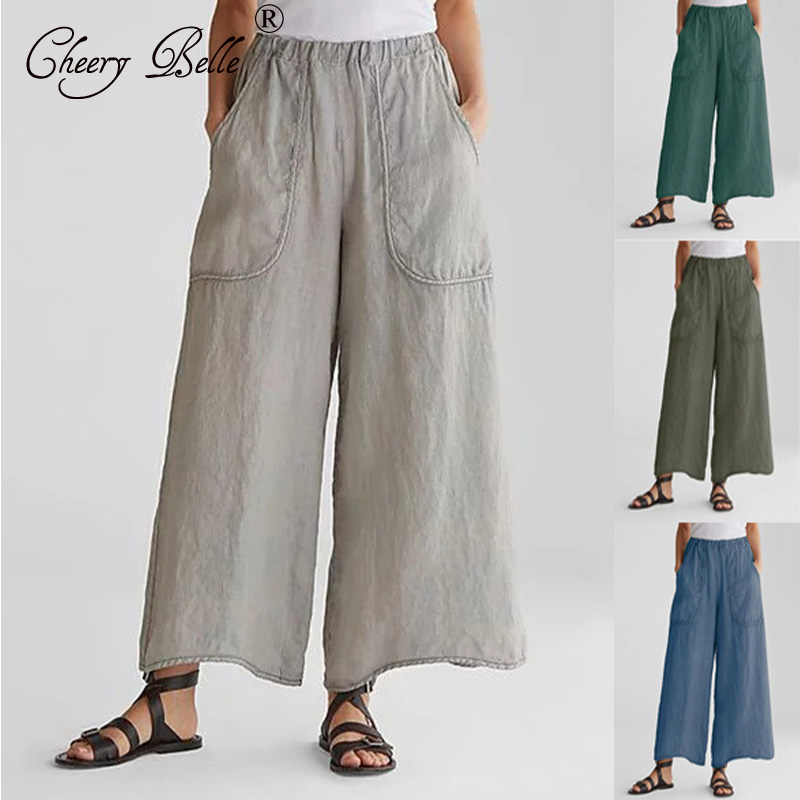 Women's Home Casual Wide Leg Pants Cotton Hemp Bag Loose Long Pants Plus Size High Waist Fashion Pants