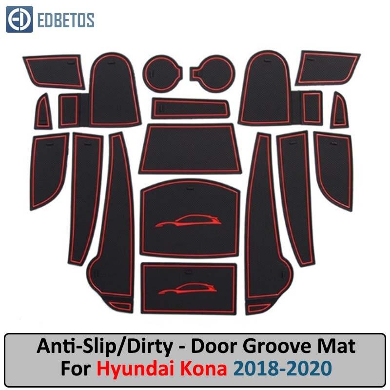 Gate Slot Mats For For Hyundai Kona 2018 2019  Car Anti Slip Mat Hyundai Kona Non-slip Interior Door Pad Cup Holder Mat