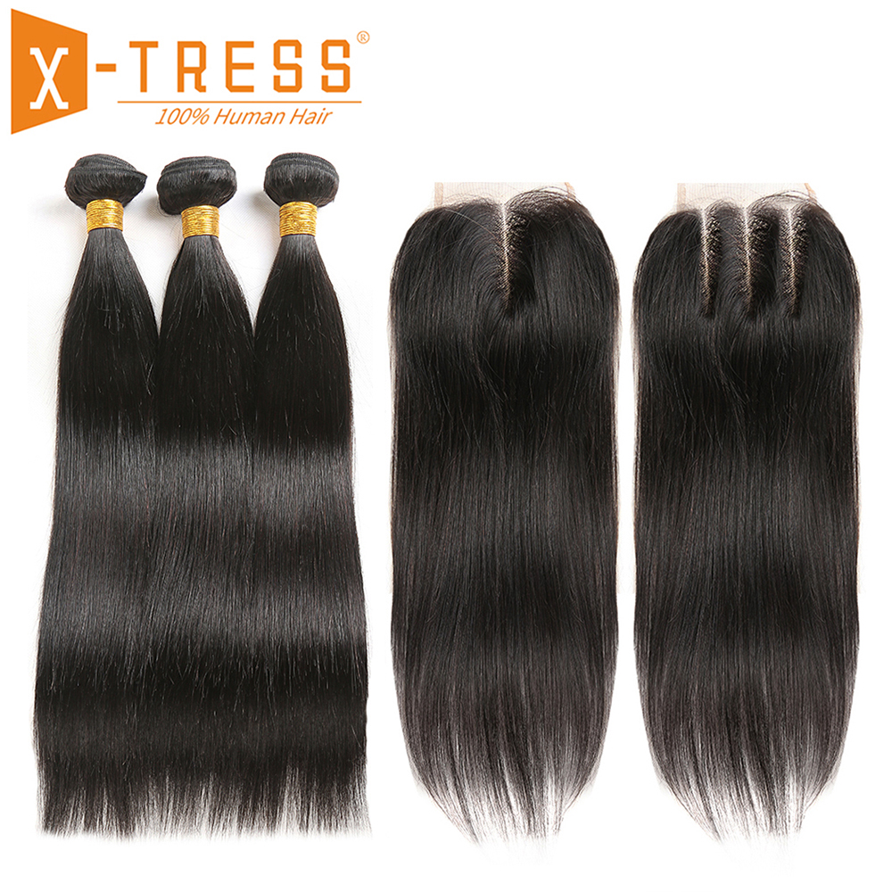 Brazilian Straight Human Hair Weave Bundles With Lace Closure X TRESS Natural Color Non Remy Hair