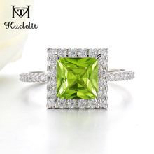 Kuololit 7x7mmNatural Peridot Gemstone Rings for Women Real 925 Sterling Silver Princess Cutting Wedding Engagement Fine Jewelry