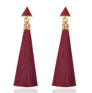 Glamour Studs Fashion New Hot Simple Wild Geometric Triangle Tassel Long Earrings Bohemia Women's Wholesale