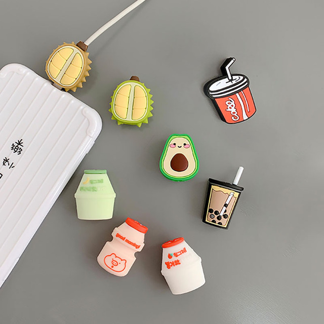Funny Fruit Charging Cable Protector Cover For Mobile Phone USB Cable Data line Fracture prevention Cartoon Portable case