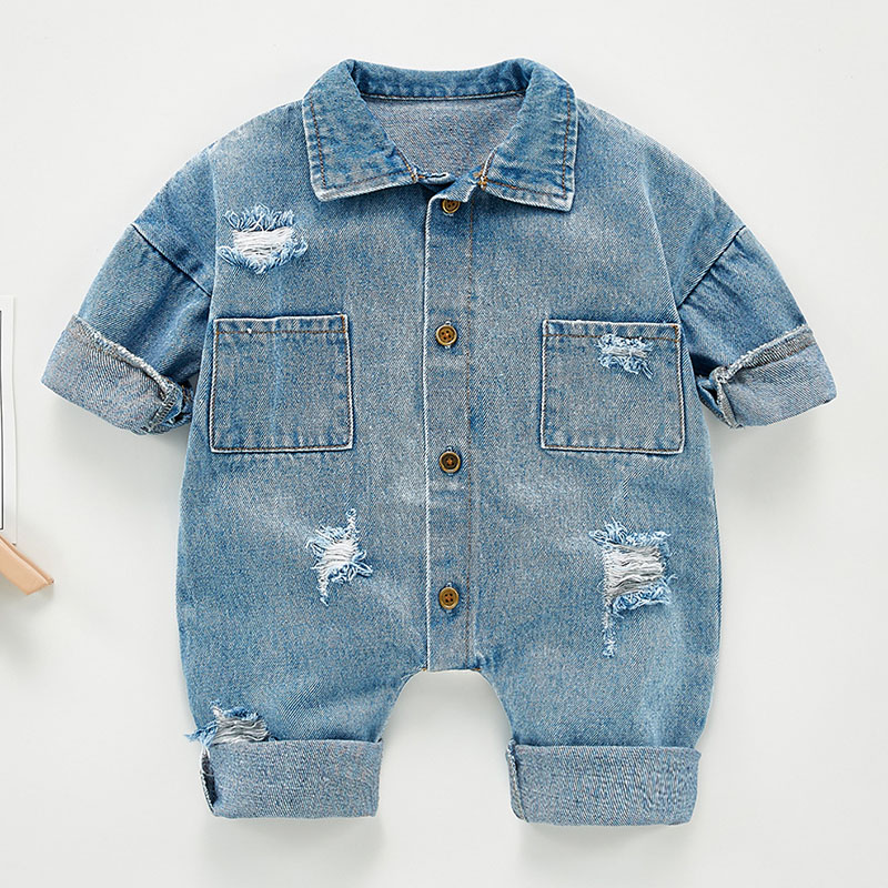 Spring Autumn Newborn Boys Girls Cowboy Broken Hole Jumpsuits Clothes Baby Boys Girls Long Sleeve Rompers Children Rompers