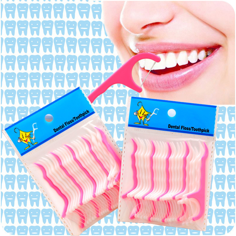 50 PCS/Lot Bow Shape Disposable Plastic Toothpick Microfilament Dental Cleaning Floss Teeth Care Tools