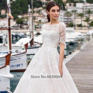 Image 5 - Ashley Carol A Line Wedding Dresses With Jacket 2020 Vestido De Noiva Beach Half Sleeve Appliques Lace Up Button Bridal Gowns