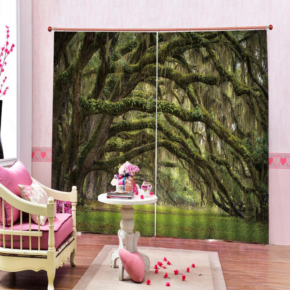 green forest curtains 3D Curtain Printing Blockout Polyester Photo Drapes Fabric For Room
