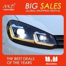 AKD سيارة المصابيح الأمامية 2009 2013 ل VW Golf 6 MK6 جيتا البديل العلوي العام كشافات ل Golf6 R20 نمط ثنائية زينون عدسة HID