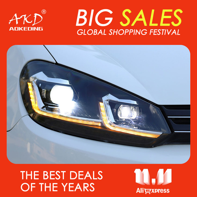 AKD Đèn Pha Xe Hơi 2009 2013 Cho VW Golf 6 MK6 Jetta Biến Thể Đèn Pha Năm Đèn Pha Cho Golf6 R20 Phong Cách bi Xenon Ống Kính Giấu