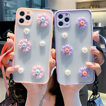Rosa Lila Daisy Candy Haut Lanyard Telefon Fall Für Samsung Galaxy A51 A71 A11 A21S A31 A30 A50 A70 M51 blume Matte Zurück Abdeckung