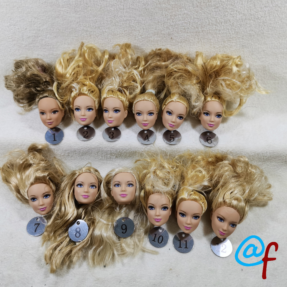 B16-2 Original Foreign Trade European Beauty Brown 1/6 OOAK NUDE Doll Head Mussed Many Hair For DIY Soft PVC Head