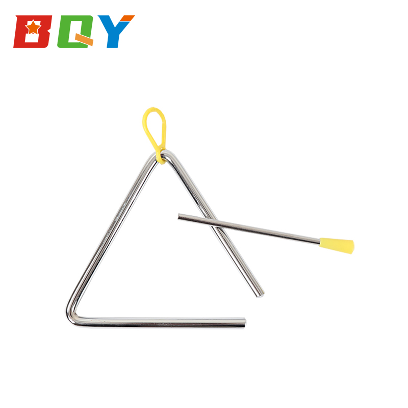 BQY Toddler Educational Kids Musical Hand Percussion Instrument Triangle Angle Iron Preschool Music Triangle with Metal Beater