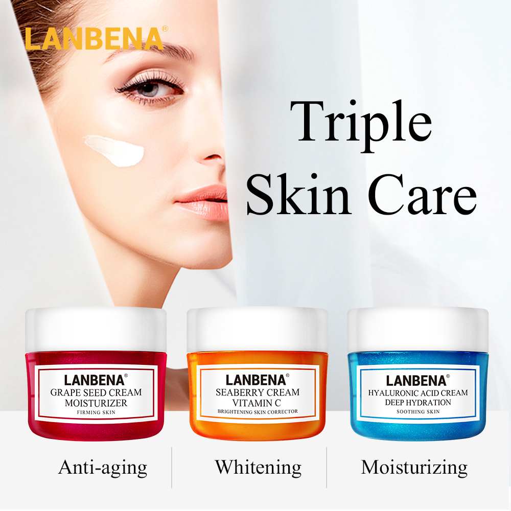 LANBENA Face Cream Eye Cream Skin Care Hyaluronic Acid Vitamin C Moisturizing Whitening Anti Aging Acne Treatment Firming 2PCS