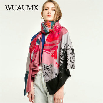 Wuaumx 2019 NEW Scarf Women Autumn Winter Ladies Scarves Double Sided Graffiti Print Shawl Wrap Warm Cotton Scarf Female Scarves недорого