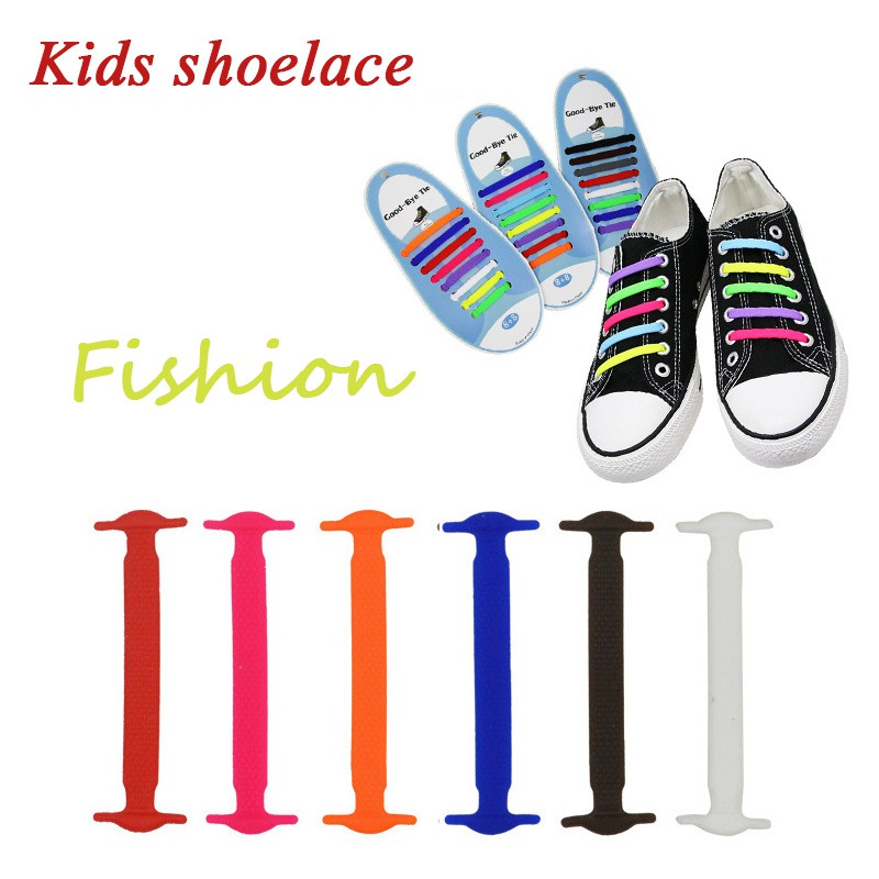 12PCS Kids Silicone Rubber Shoelaces No Ties Elastic Slip Baby Solid Tieless Shoelaces  First Walkers Wears