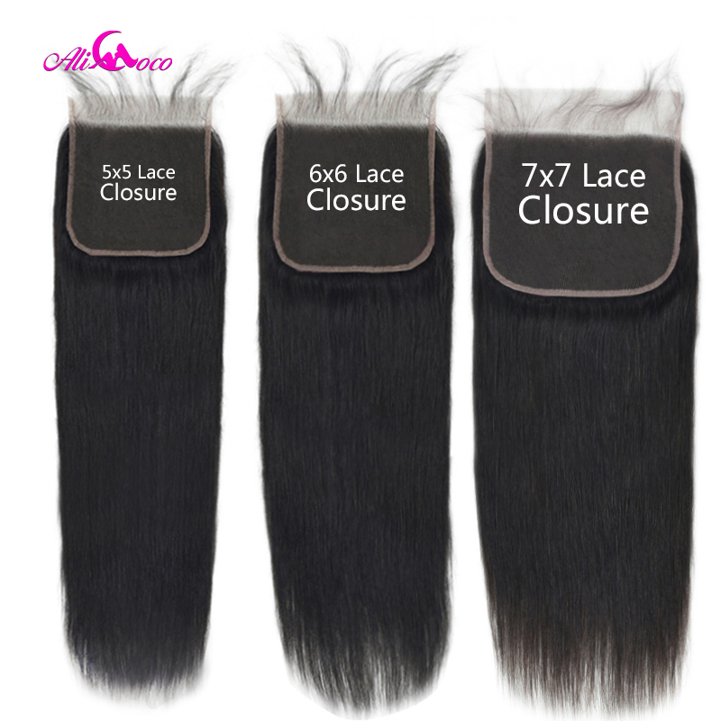 Lace Closure Human-Hair-Extension Baby-Hair Straight Brazilian 6X6 Natural-Color 5X5 title=