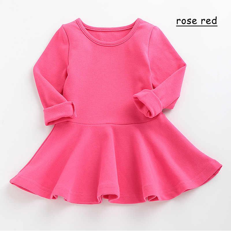 เสื้อผ้าเด็กผู้หญิงสีทึบใหม่จีบรอบคอแขนยาวชุดเด็กทารกผ้าฝ้ายเสื้อผ้าเด็กสบายๆสาวเสื้อผ้า