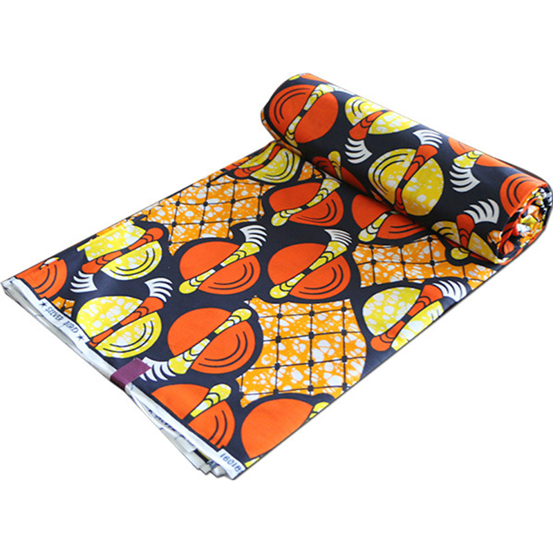 2019 Wax Fabric Real 100 Cotton High Quality African Yellow And Orange Print Fabric Wax Java