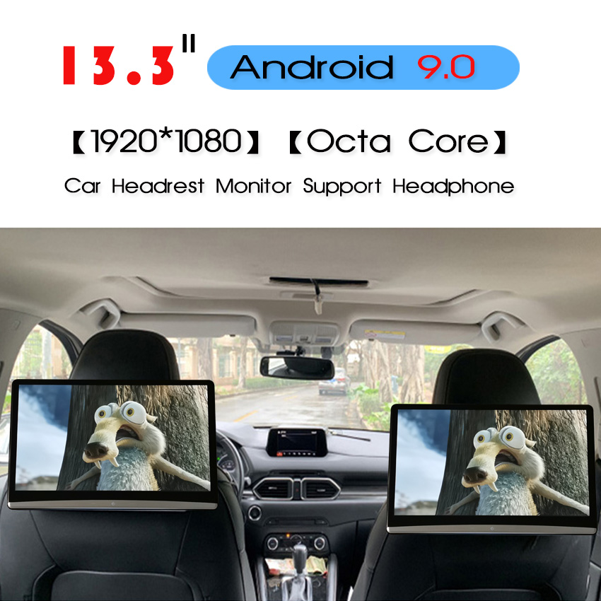 KANOR 13.3 Inch Android 9.0 2GB+16GB Car Headrest Monitor 1920*1080 4K Touch Screen WIFI/Bluetooth/USB/SD/HDMI/FM/Mirroring