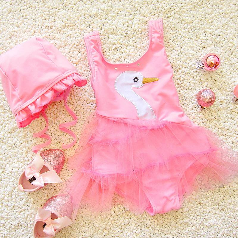 Princess Sweet Cute Infants Baby Dress-GIRL'S Korean-style Large Children Swimsuit With Hat
