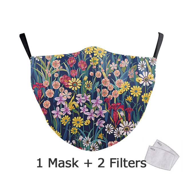 Reusable Face Mask Protective PM2.5 Filter Printing mouth Mask anti dust Windproof Mouth-muffle bacteria proof Flu Mask 4