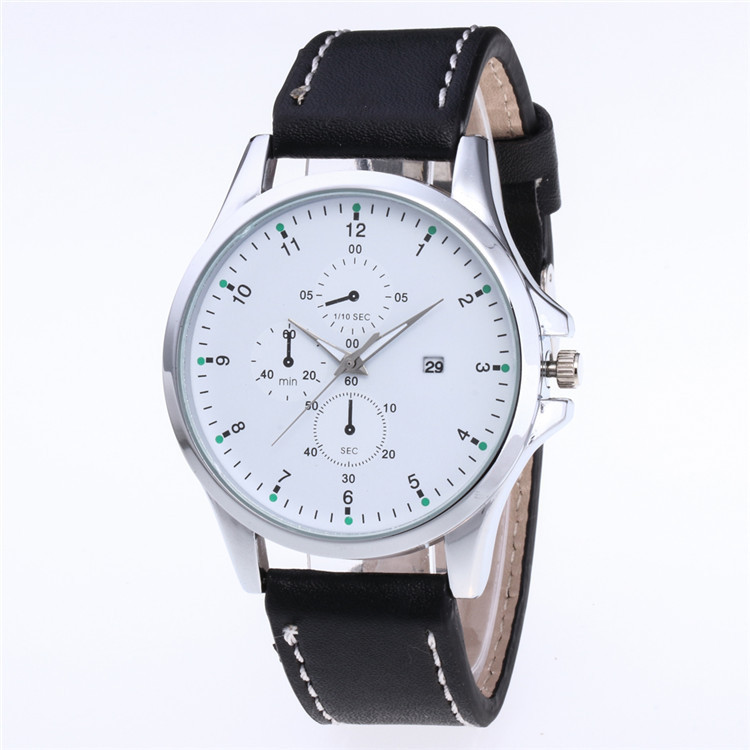 Fashion Belt Watch Exquisite Simple Multi Color Dial Quartz Watch Three Eyes Five Needle Dial Watch With Calendar