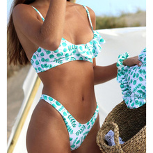 Ruffle Biquinis Feminino 2021 Swimsuit Leopard Swimwear Women Thong Bikini Set Bathing Suit Women Biquini Print Bikinis Beach