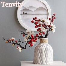 Kirsche Rote Pflaume Blossom Silk Künstliche Blumen Kunststoff Zweig für Home Hochzeit DIY Dekoration Schaum Weihnachten Berry Gefälschte Blumen