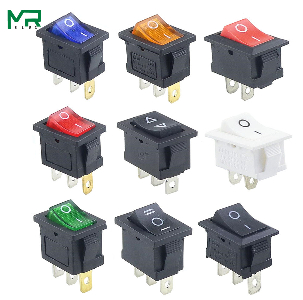 1PCS KCD1  2PIin 3Pin Boat Car Rocker Switch 6A/10A 250V/125V AC Red Yellow Green Blue Black  Button Best Price KCD1