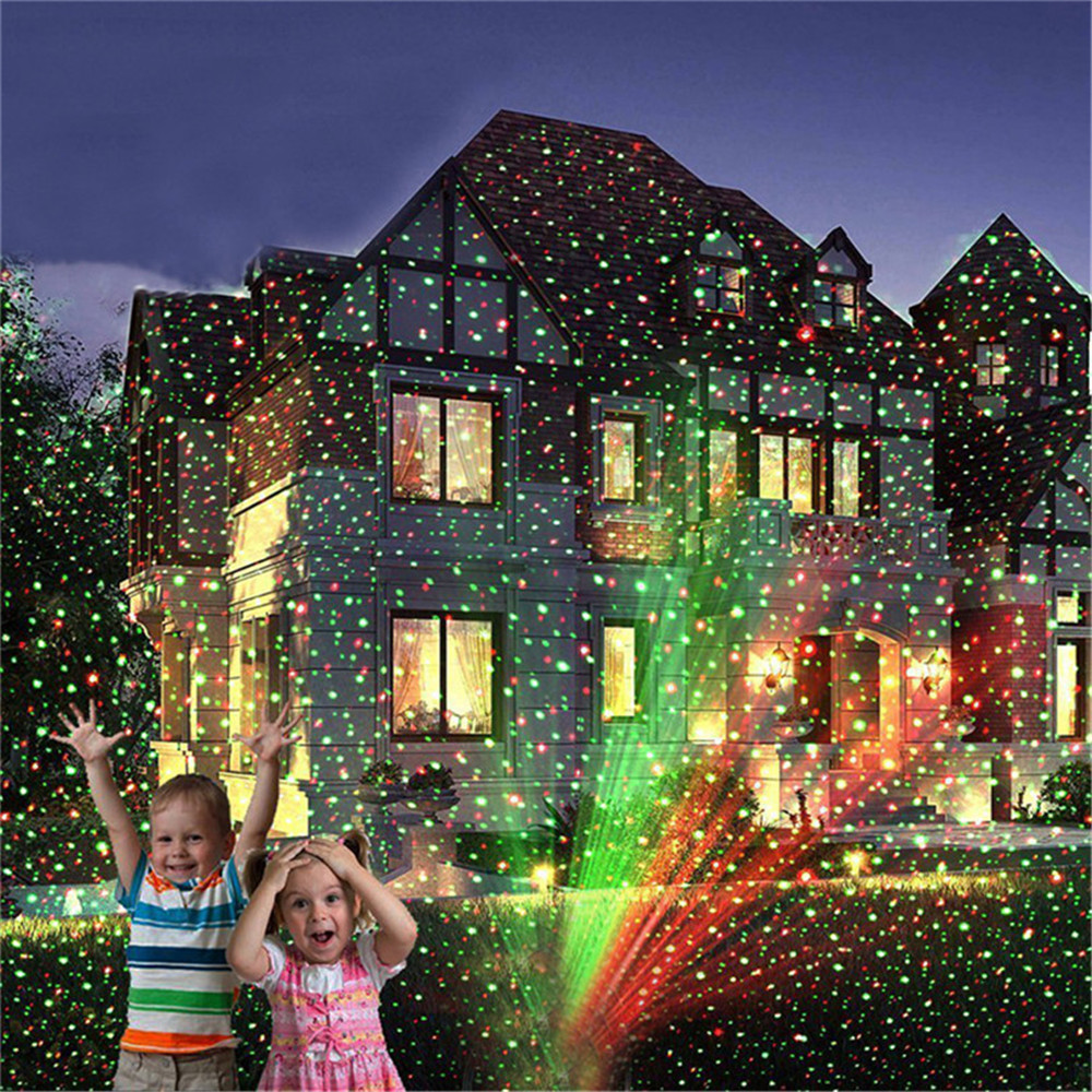 Christmas Laser LED Projector Lamp Green&Red LED Stage Light Outdoor Moving Full Sky Star Landscape Lawn Garden Starry Light