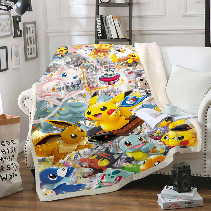 Pokemon Pikachu Funny Character Blanket 3D Print Sherpa Blanket On Bed Home Textiles Dreamlike Style 11