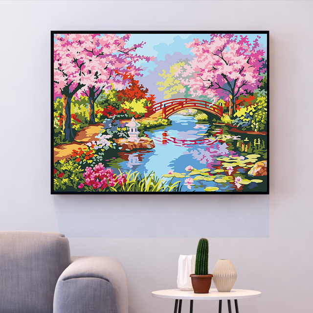 Painting By Numbers. Japanese water Garden Blossom Bridge Spring