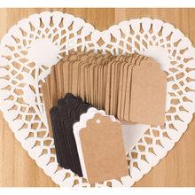 100 stücke Kraft Geschenk Tags Scalloped Hochzeit Party Papier Karte Tag Festival Hinweis DIY Blank Preis Label Hang Tag Weiß schwarz