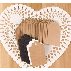 100pcs Kraft Gift Tags Scalloped Wedding Party Paper Card Tag Festival Note DIY Blank Price Label Hang Tag  White Black