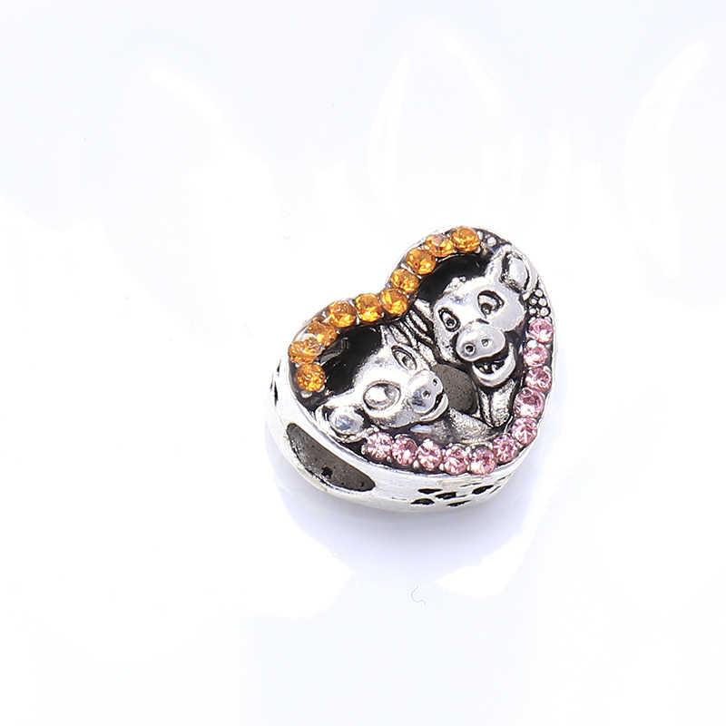 Venda quente de Cristal Da Liga Coração Bonito Porco Beads Fit Encantos Pandora Colares Originais para Mulheres Que Fazem Jóias de Presente de Aniversário
