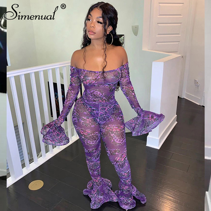 Simenual Mesh Transparent Sexy Ruffles Rompers Womens Jumpsuit Long Sleeve Off Shoulder Party Clubwear Jumpsuits Fashion Bodycon