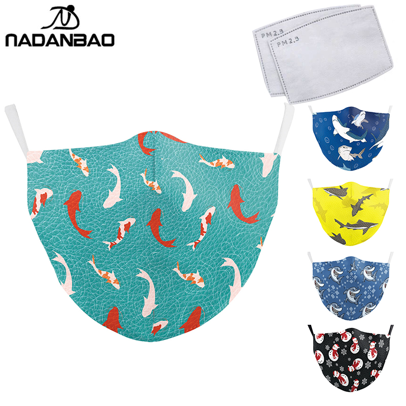 NADANBAO Blue Ocean Series Fish Print Face Mask Cartoon Animal Cute Adullt Masks Washable Fabric Mask Reusable PM2.5 Protective