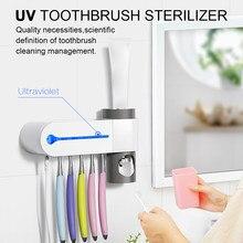Porte-brosse à dents antibactérien automatique   Porte-brosse à dents automatique, distributeur de dentifrice stériliser, nettoyeur à domicile, stérilisation, ensemble d'accessoires de salle de bain