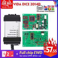 Vida Dice 2014D para Volvo coche de 1999-2016 herramienta de diagnóstico Vida Dice Chip completo con EWD tablero verde OBD2 escáner de coche para volvo
