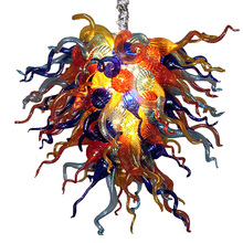 Fancy Art Colored High Hanging Chain Hand Blown Glass Chandelier Light Fixture