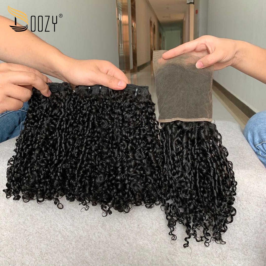 Doozy cabello peruano Super doble pitillo rizado 3 paquetes con cabello humano virgen Frontal