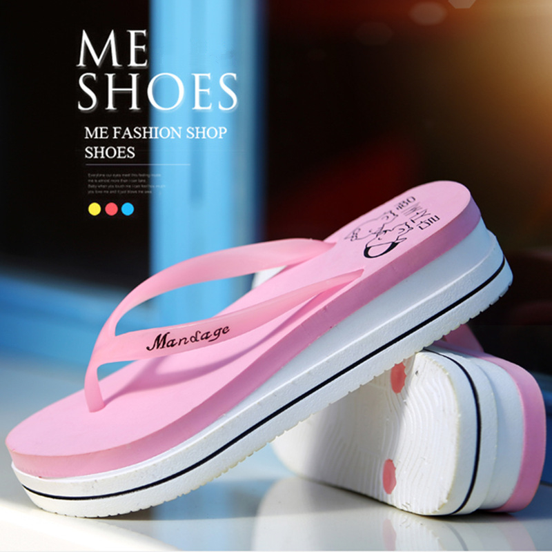 Hight Heel Slippers Girls Flats Toe Summer Slides Casual Solid Wedges Flip Flops Outdoor Slippers Flat Fashion Letters Slipper