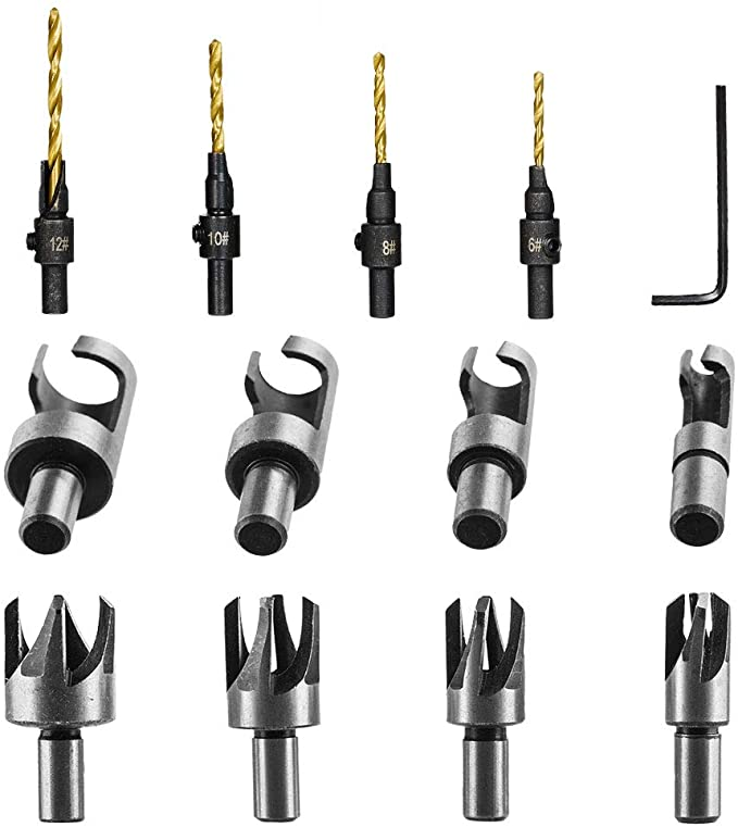 4pcs Countersink Drill Bit Set With Hex Shank 8pcs Wood Plug Cutter Cutting Tool Drill Bit Set