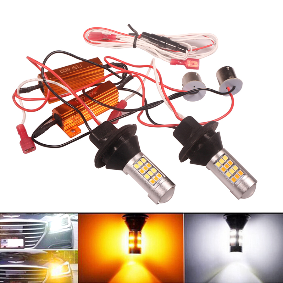 NHAUTP 2 шт. P21W PY21W W21W Светодиодный лампочки Canbus Error Free автомобильный светодиодный поворотник огни DRL двойной Цвет 1156 BA15S T20 для автомобильных фар