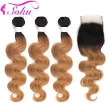 Ombre Bundles With Closure 1B/27 Honey Blonde Body Wave SOKU Brazilian Hair Weave 4x4 NonRemy
