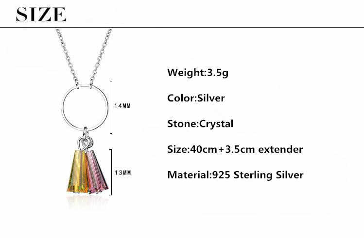 100% 925 Sterling Silver Elegant Colorful Crystal Female Pendant Necklaces Original Jewelry For Women Short Chokers Chains Girls