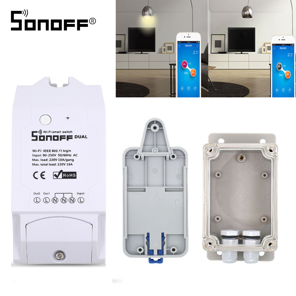 ITEAD SONOFF DUAL R2 2CH 2 Gang Wireless Remote Control Wifi Switch Timer 10A 16A 220V Smart Home Automation Google Home Alexa