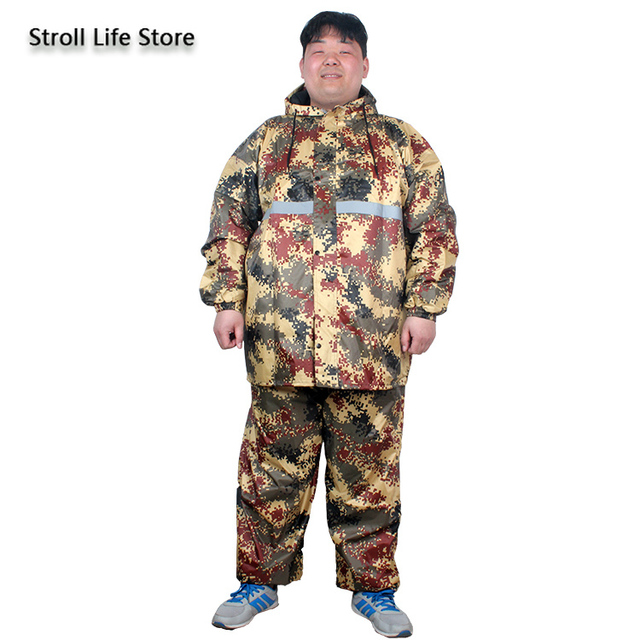 Large Plus Size Raincoat Men Hiking Fertilizer To Increase Fat Man Rain Coat Suit Adult Men and Women Thickened Double Layer 4