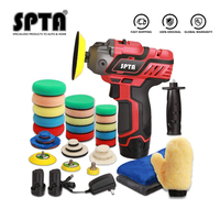 SPTA 12V Cordless Car Polisher Tool Sets,Cordless Drill Driver Variable Speed Polisher 1500mAh Li-ion Battery with Fast Charger